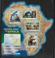 SIERRA LEONE  Feuillet N°  5969/72  * *  ( Cote 20e )  Parc Sierra Leone  Oiseaux Singe Phacochere Antilope - Apen