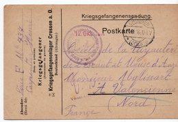 CARTE DE PRISONNIER GUERRE 1914 18   -  CACHET GROSSEN   1916  POUR VALENCIENNE  CARPENTIER HENRI - Storia Postale