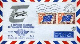 CONSEIL DE L'EUROPE STRASBOURG 4 Juillet 1961 4e Conférence De L'organisation Mondiale AVIATION CIVILE - Lettres & Documents