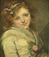 """Reproduction Sur Papier Tableau D'Ingres """" Jeune Fille à La Rose """" 18ème - Autres Collections"""