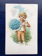 """Cpa --""""Garçon Avec Beau Bouquet De Fleurs """"--(816) - Szenen & Landschaften"""