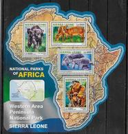 SIERRA LEONE  Feuillet N°  5993/96  * *  ( Cote 20e )  Parc Sierra Leone  Singes Antilope Lamantin - Apen