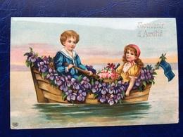"""Cpa --""""Enfants Dans Chaloupe Pleine De Fleurs Sur Le Lac """"--(817) - Szenen & Landschaften"""