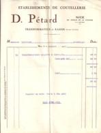 06 . ALPES MARITIMES . FACTURE / LETTRE . NICE . COUTELLERIE D. PETARD . 1925 - 1900 – 1949