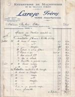 06 . ALPES MARITIMES .  FACTURE / LETTRE . VENCE . MACONNERIE LARESE FRERES . 1933 - 1900 – 1949