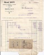 07 . ARDECHE . FACTURE / LETTRE . PRIVAS . BROSSES ET PINCEAUX HENRI SAVY . 1943/45 - 1900 – 1949