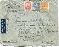 """BRESIL LETTRE PAR AVION AVEC CACHET """" VIA CONDOR """" DEPART (MARANHAO 16 VI)-37 POUR LA FRANCE - Luchtpost"""