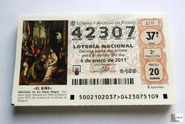 ESPAÑA - LOTERIA NACIONAL - AÑO  2011 Completo - 51 Décimos - Billetes De Lotería