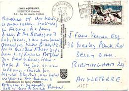 France N° 1755 Y. Et T. Landes Hossegor Flamme Illustrée Du 04/06/1973 Sur Carte Postale Pour L'Angleterre - Marcophilie (Lettres)