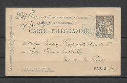 CARTE-TELEGRAMME. PARIS. R. AMSTERDAM .1895 - Télégraphes Et Téléphones