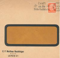 """[A5] Perfin C. F. Weithas Nachfolger Leipzig - Hindenburg Fensterkuvert """"Denkt An Die Arbeitsschlacht"""" 1934 - Germany"""