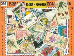 MIX DI 260 FRANCOBOLLI ASSORTITI SCELTI USATI FLORA 260 FLOWERS CANCELLED STAMPS - Altri