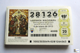 ESPAÑA - LOTERIA NACIONAL - AÑO 2013 Completo - 51 Décimos - Billetes De Lotería