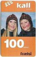 Faroe - Kall, Two Women With Painted Face, 100Kr. GSM Refill, Exp.01.2007, Used - Faroe Islands