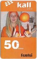 Faroe - Kall, Girl With Oranges, 50Kr. GSM Refill, Exp.01.2007, Used - Faroe Islands