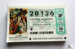 ESPAÑA - LOTERIA NACIONAL - AÑO:  2016 Completo - 51 Décimos - Billetes De Lotería