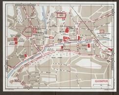 CARTE PLAN 1972 QUIMPER - CASERNE MUSÉE BRETON MONT FRUGY ÉGLISE LOCMARIA HALLES THÉATRE - Mapas Topográficas