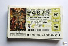 ESPAÑA - LOTERIA NACIONAL - AÑO:  2017 Completo - 51 Décimos - Billetes De Lotería