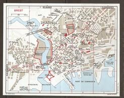 CARTE PLAN 1972 BREST - PORT Des YACHTS ARSENAL PORT MILITAIRE BASSINS De PONTANIOU Et De TOURVILLE - Topographical Maps