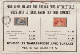 Encart Publicitaire De La Poste Pour Les Timbres Aide Aux Travailleurs Intellectuels - Storia Postale