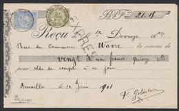 """Fine Barbe - N°59 Et 60 Sur Reçu En EXPRES Ob Simple Cercle """"St-Gilles-Belles-Monnaies"""" (1901) > Bruxelles. - 1893-1900 Barba Corta"""