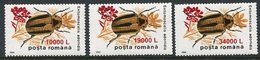 ROMANIA 2000 Surcharges On Insects 370 L. MNH / **.  Michel 5496-98 - 1948-.... Republics
