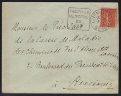 THIONVILLE - MOSELLE / 1932 OBLITERATION DAGUIN SUR LETTRE POUR STRASBOURG  (ref 5599) - Alsace-Lorraine