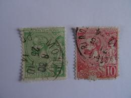 MONACO - PRINCE ALBERT Ier - 1901 - Yvert N°22 ( 5c Vert-jaune) Et 23 (10c Rouge) - Used - Monaco