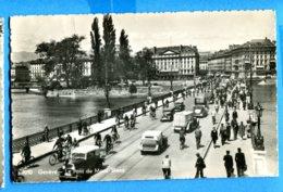 OLI516, Genève, Pont Du Mont-Blanc, Animée, Vieilles Voiture, Old Car, 7010, Jaeger, Léger Pli, Circulée - GE Geneva