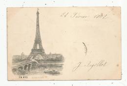 Cp , 75 , PARIS ,TOUR EIFFEL ,dos Simple , Voyagée 1902 - Tour Eiffel