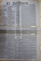 """EL FERROCARRIL"" DIARIO FORMATO PEQUEÑO, AÑO XI NUM 3387. FECHA 12 / 11 / 1866 SANTIAGO, CHILE. NEWSPAPER JOURNAL -LILHU - Revues & Journaux"