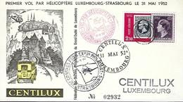 Luxembourg  -  Poste-Aérienne - 31 Mai 1952 - Premier Vol Par Hélicoptère - Luxembg-Strasbourg - Aéreos