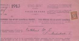 1913: Stad GENT / Ville De Gand :  ## Bijzondere Taks Op Het Kadastraal Inkomen / Taxe Spéciale Sur Le Revenu ... - 1900 – 1949