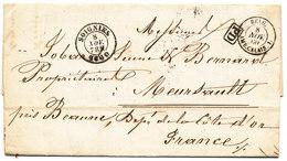 1860 BRIEF  VAN SOIGNIES NAAR MERSAULT - OP RUGZIJDE  AMBt DU MIDI No2 ZIE SCAN(S) VL - 1849-1865 Medaillen (Sonstige)