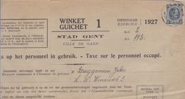 1927: Stad GENT / Ville De Gand: ## Taks Op Het Personeel In Gebruik / Taxe Sur Le Personnel Occupé ## Aan / à ## ... - 1900 – 1949