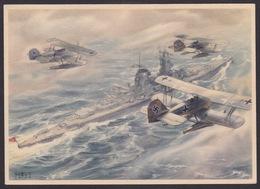 AK Propaganda /  Ein Panzerschiff Mit Flugzeugen   ..   ( E 420 ) - Weltkrieg 1939-45