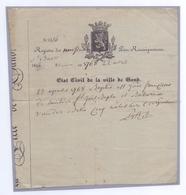 1841: Ville De GAND : Uittreksel Uit De Geboorte-akte: ## État Civil De La Ville De Gand ##  @§@ 23 Aprilis 1768 ... - Naissance & Baptême