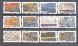 France Autoadhésifs Oblitérés N°1502 à 1513 (série Complète : Nature à L'oeuvre) (lignes Ondulées) - Autoadesivi
