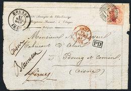 1859 BRIEFFRONT MET COB 12A? VAN BOUSSU (MOOIE FRISSE STEMPEL P21) NAAR BOURG ET COMIN (FRANCE)  ZIE SCAN(S) VL - 1851-1857 Medaillons (6/8)