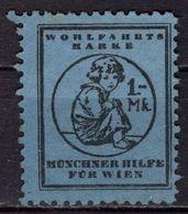 Vignette Werbemarke, Wohlfahrt, Muenchner Hilfe Fuer Wien, Maedchen (90858) - Vignetten (Erinnophilie)