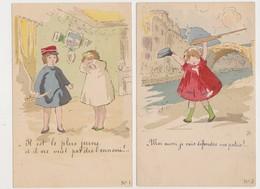 7 Cpa Fantaisie Dessinées .illustrateur ? /  Enfants Jouant à La Guerre - Szenen & Landschaften