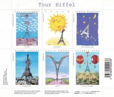 TOUR EIFFEL. FRANCE VIGNETTES BLOC, SOUVENIR SHEET. EDITION CARTES D' ART. SAUBRY POUCH BERNARD LEGRAND ET AUTRES -LILHU - Variétés Et Curiosités