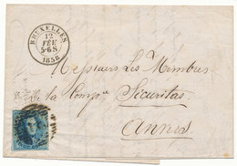1859 BRIEF MET OCB 11A? VAN BRUXELLES  NAAR ANVERS - AANKOMSTSTEMPEL ANVERS ZIE SCAN(S) VL - 1858-1862 Médaillons (9/12)