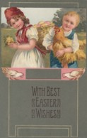 Easter Greetings, Children With Eggs And Rooster C1910s Vintage Embossed PFB #7626 Postcard - Pasen