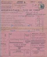 1925: Stad GENT / Ville De Gand: ## WEGENISBELASTING / TAXE De VOIRIE ## Aan / à ## COCQUYT Emiel, Ijskelderstraat, ... - 1900 – 1949