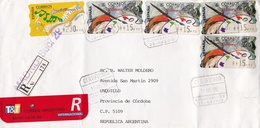 SPAIN CIRCULATED ENVELOPE WITH SELF-ADHESIVE STAMPS, YEAR 1998 FROM MADRID TO UNQUILLO CORBOBA ARGENTINA -LILHU - 1991-00 Lettres