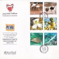 COMMEMORATIVE STAMPS ON WORLS ENVIRONMENT DAY 2003. BAHRAIN FDC LOT 2 ENVELOPES COMPLETE SET -LILHU - Bahreïn (1965-...)