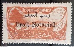 NO11 51 - Lebanon 1931 Cedar & Landscape Design Fiscal 25p Orange Ovptd Droit Notarial Revenue Stamp - RRR - Lebanon