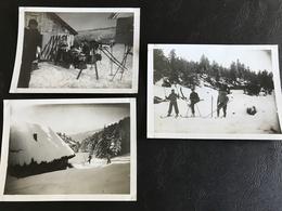 Set De 3 PHOTOS Savoie 1933 - Skieurs & Chalet PLAIMPALAIS - Sports