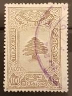 NO11 - Lebanon 1933 Fiscal Revenue Stamp 100p Dull Brown, Cedar Design (No Wmk) - Rare - Lebanon